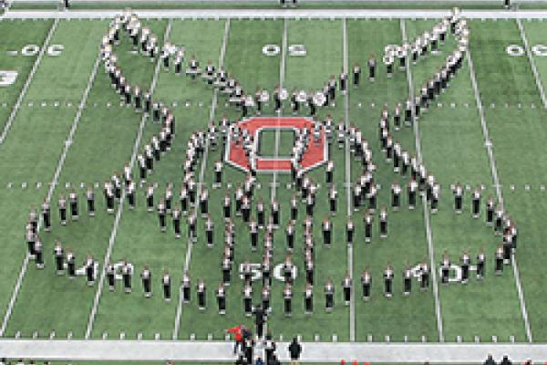 TBDBITL forms Bugs Bunny's face at halftime of the Penn State game on Nov. 23, 2019