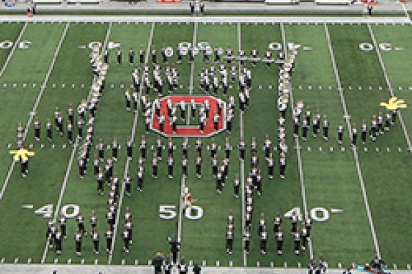 The marching band makes a SpongeBob SquarePants formation at Ohio Stadium