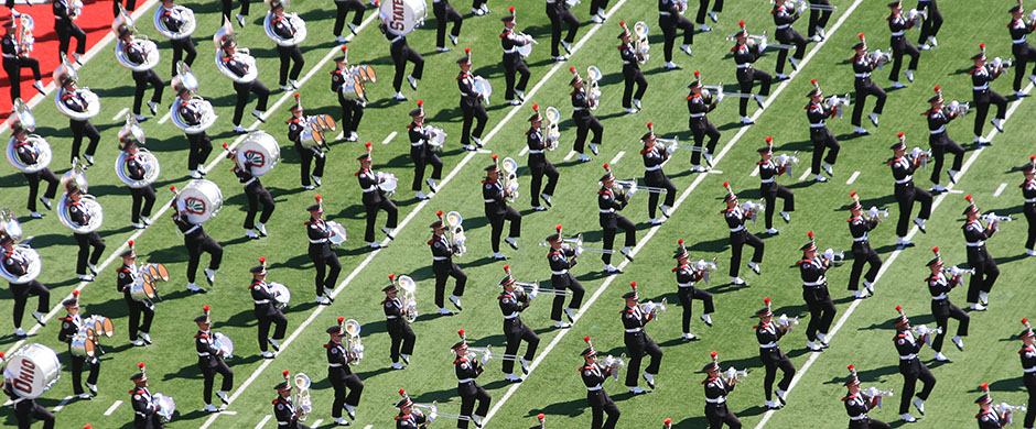 Ohio State Marching Band playing on the field