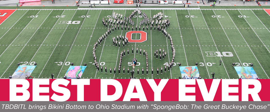 The Ohio State University Marching Band forms a pineapple on the field at the end of its SpongeBob halftime show