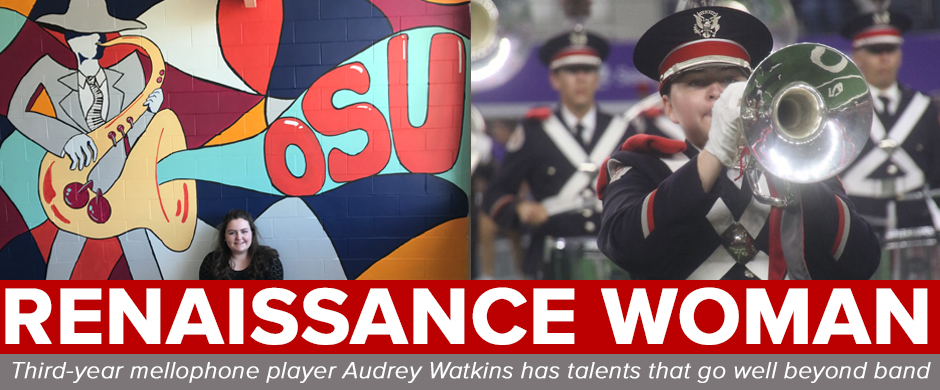 Audrey Watkins poses with her mural in Hughes Hall and performs with TBDBITL